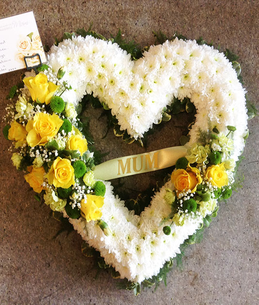 Personalised Open Based Heart Funeral Tribute