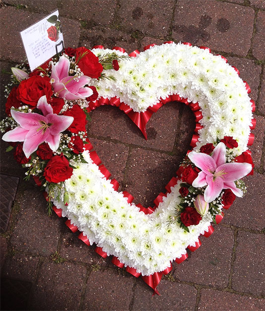 Personalised Open Based Heart Funeral Tribute 2