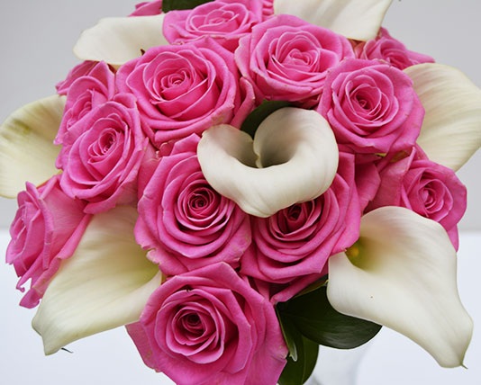 Wedding Bouquet Pink Roses & White Lilies