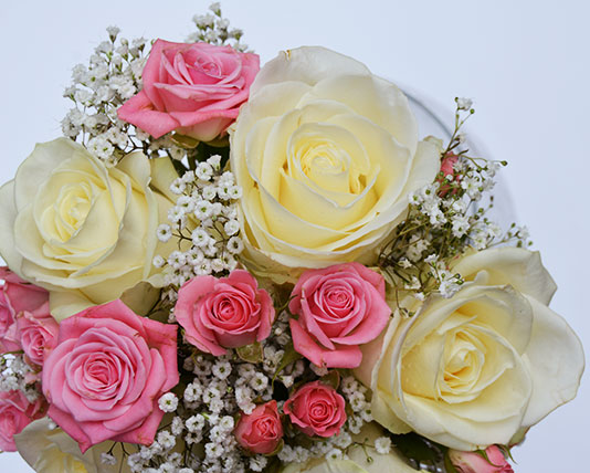 Wedding Bouquet White & Pink Roses