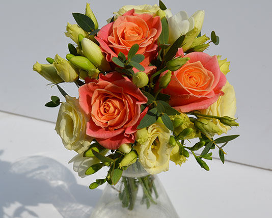 Wedding Bouquet Orange Roses & White Lilies